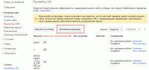 Google Вебмастер - обработка параметров страниц