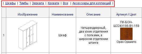 Ссылки на страницы с сортировкой